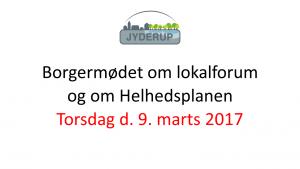 Borgermøde om lokalforum og om helhedsplanen @ Skarridsøsalen | Jyderup | Danmark