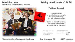 Musik for børn i Skarridsøsalen med Trolle og Tormod