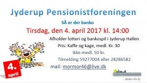 Pensionistforeningen af holder BANKO d. 4/4, kl. 14 i Jyderup Hallen