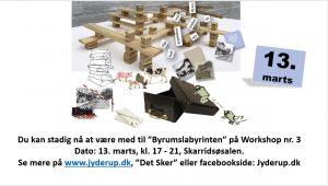 Workshop - Midlertidig byrumsaktivitet 3 @ Skarridsøsalen | Jyderup | Danmark