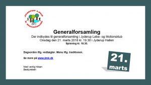 Generalforsamling i Jyderup Løbe- og Motionsklub