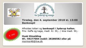 Pensionistforeningen inviterer til lotteri og bankospil i Jyderup hallen