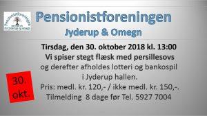 Pensionistforeningen inviterer til stegt flæsk