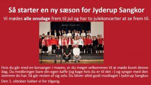 Jyderup Sangkor starter ny sæson onsdag 5. september 2018 kl. 19:30 i Skarridsøsalen