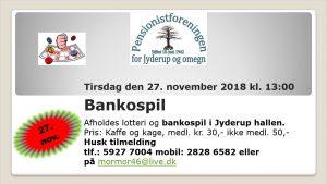 Pensionistforeningen inviterer til banko og lotteri i Jyderup Hallen