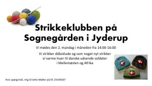 Strikkeklub i Jyderup Sognegård