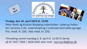 Pensionistforeningen inviterer til musik i Jyderup Hallen