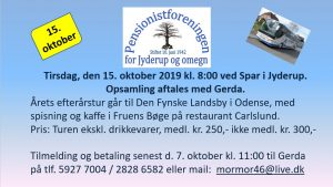 Efterårstur til Den Fynske Landsby i Odense @ Mødested: Spar i Jyderup