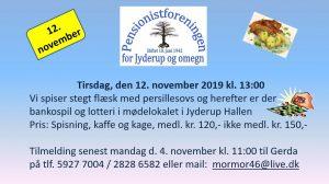Pensionistforeningen inviterer til stegt flæske og bankospil @ Jyderup Hallen | Jyderup | Danmark