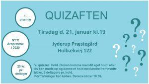 Første quizaften i 2020 – NU med årspræmie @ Jyderup Præstegård | Jyderup | Danmark