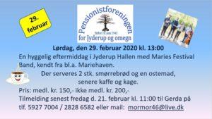 Jyderup Pensionistforeningen inviterer til hyggelig eftermiddag @ Jyderup Hallen | Jyderup | Danmark