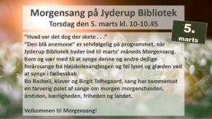 Morgensang på Jyderup Bibliotek torsdag d. 5. marts kl. 10 – 10:45 @ Jyderup Bibliotek | Jyderup | Danmark