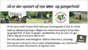 Opstart nye løbe- og gangerhold søndag d. 8. marts 2020 kl. 10.00 @ Jyderup Campingplads