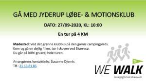GÅ MED JYDERUP LØBE- & MOTIONSKLUB @ Vi mødes Ved det grønne klubhus på den gamle campingplads