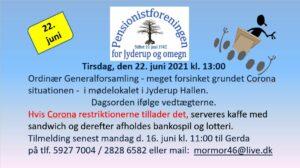 Ordinær Generalforsamling - Pensionistforeningen @ Jyderup Hallen | Jyderup | Danmark